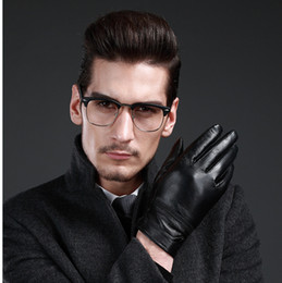 $enCountryForm.capitalKeyWord Australia - Temperament leather solid color classic black men plus velvet warm sheepskin different size gloves winter