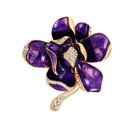 EnamEl flowEr broochEs online shopping - 4 Colors Beautiful Flower Crystal Brooches Enamel Metal Brooch Pin for Women Costume Dress Brooch Jewelry Fashion Accessories