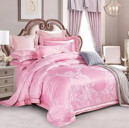 king wedding blue jacquard bedding sets 2020 - Wedding Bedding Sets Jacquard Satin Duvet Cover Set Queen King Size Pink Princess Bedclothes Bed sheet Linen Dropshippin