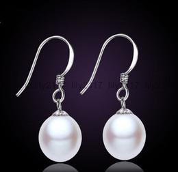 Genuine Cultured Black Pearls Australia - 100%Genuine Natural 8-9mm White Freshwater Cultured Pearl Silver Dangle Earrings