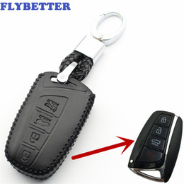 $enCountryForm.capitalKeyWord Australia - FLYBETTER Genuine Leather KeyChain 4Button Smart Key Case Cover For Hyundai SantaFe Equus Azera Genesis Car Styling L223