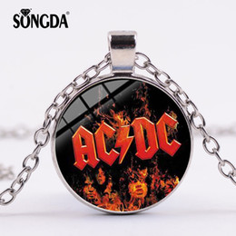 $enCountryForm.capitalKeyWord Australia - SONGDA Popular Rock Band AC DC Red Sign Necklace Rock and Roll ACDC Silver Color Glass Dome Pendant Choker Jewelry Music Lovers