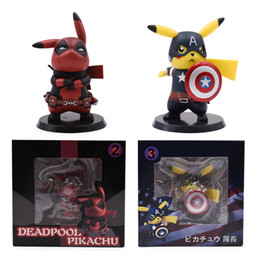 4bbc8756 2 Styles Anime Q Ver Deadpool Captain America Pikachu Cosplay Deadpool  Action Figure PVC Figurine Collectible Model Gift Toy Y190530