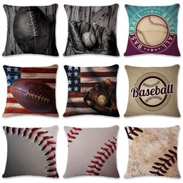 $enCountryForm.capitalKeyWord Australia - Cushion covers American and European baseball and football series linen pillowcase office pillow case size 45cm*45cm,no core included