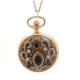 Chinese  (1147-3) gold royal palace Bohemian Love Heart Pocket Watche Sweater Vintage Turkish glass stone pocket watch Pendant Necklace manufacturers