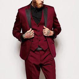 New desigNer tuxedo online shopping - Designer New Groom Wedding Tuxedos Burgundy Peaked Lapel Slim Fit Mens Pants Suits Best Man Dinner Party Blazer Jacket Pants Vest