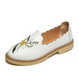 5da57ef44ef preppy shoes women 2019 - Embroider Leather Shoes Women Flower Fringe Flat  Loafers 2019 Preppy Style