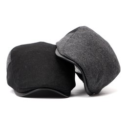 beret hat cowboy for man NZ - Autumn Winter Berets for Men Casual Wool Caps Classic Solid Berets Men and Women British Style Visors Hats Adult Flat Casquette