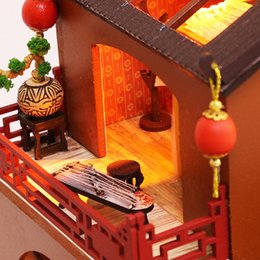 handmade wooden dolls house NZ - Wooden Toy Diy Dollhouse Miniature Dollhouse Handmade Doll House Furniture Puzzle Assemble 3D Miniaturas Model Kit Toys for Chil