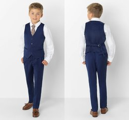 Handsome Kids Suits Australia - Custom Made Kids Wedding Tuxedos Handsome 3 Pieces Peaked Lapel Pants Suits Handsome Boy's Formal Wear(Jacket+vest+Pants)