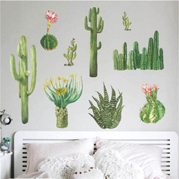 3d Window Wall Stickers Australia - New 3D Cactus Flowers Wall Stickers Home Decor Living Room Bedroom Window Wallpaper Removable Self-adhesive PVC Art Mural Poster