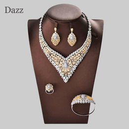 nigeria wedding jewelry 2019 - Dazz Luxury Two Tone Tree Leaf Nigeria Necklace Jewelry Sets Women Wedding Cubic Zircon CZ Dubai Gold Bridal Jewelry Set