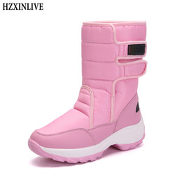 Lady Snow Boots Mid Calf Australia - HZXINLIVE Winter Mid-Calf Women Boots Fashion Warm Ladies Casual Snow Boots Waterproof Non-slip Plush Turned-over Cuffed Shoes