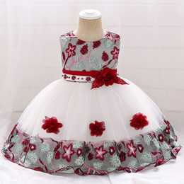$enCountryForm.capitalKeyWord Australia - Infant Baby Girl Dress Lace Tulle Baptism Dresses For Girls 1st Year Birthday Beading Appliqued Party Wedding Baby Clothing MX190719