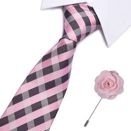 955633391b846 32 Estilo Striped Tie Hombres broche conjunto de seda Jacquard Corbatas  tejidas para los hombres Negocio de la boda Azul Rojo Rosa Naranja Hombre  Corbata