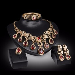 $enCountryForm.capitalKeyWord Australia - Liffly Dubai Red Crystal Jewelry Sets for Women Charm Bridal Necklace Earrings Ring Bracelet Wedding Jewelry Sets for Bride