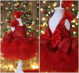 $enCountryForm.capitalKeyWord Australia - Lovely Red Ball Gown Flowers Girls Dresses Bow Sequined Feather Ruffles Toddlers Pageant Gowns First Communion Party Dress For Wedding