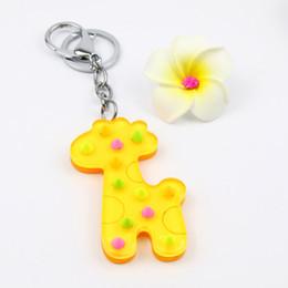$enCountryForm.capitalKeyWord NZ - Lovely giraffe acrylic keycharm wholesale animal keychain low price keyring promotional gifts advertisement accessories jewellery keyholder