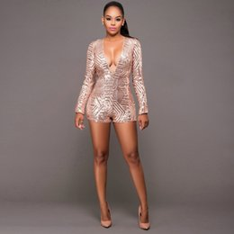 f11af059fc46 2019 Women s Long Sleeve Jumpsuits Bodycon Deep V Neck Sequined Jumpsuit  For Party Female Sexy Backless Bling Playsuit XL