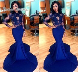 Prom dress sexy lace bodice online shopping - 2020 Royal Blue Long Sleeves Mermaid Maxi Prom Dress Lace Sheer Bodice Formal Party Wear Evening Gowns