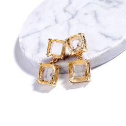 Crystal Stud Metal Australia - Free Shipping Geometric Glass Crystal Stud Earrings Stylish Simplicity Grace Earring For Women Daily Matching Jewelry Gift Box JA007