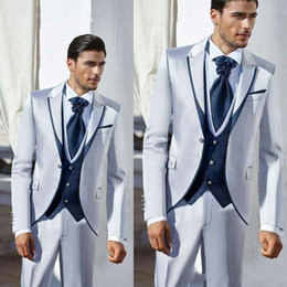 groom tuxedo silver shiny Canada - Fashionable One Button Shiny Silver Grey Groom Tuxedos Peak Lapel Men Wedding Party Groomsmen 3 pieces Suits (Jacket+Pants+Vest+Tie) K190