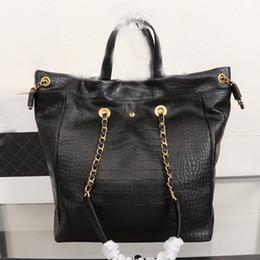 $enCountryForm.capitalKeyWord NZ - Designer luxury handbags plain black women big shopping bags chain lady letter alligator cowhide genuine leather casual tote