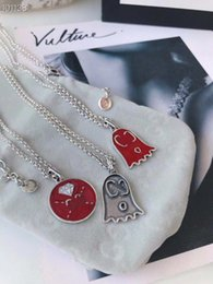 $enCountryForm.capitalKeyWord NZ - Counter genuine sterling silver red blush round pendant lobster buckle retro silver letter big sweater chain female long necklace