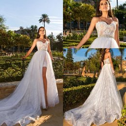 6c2371fdb3dc 2019 Beach Wedding Dresses with Detachable Train Spaghetti Straps Mini Short  Plus Size Vestidos de Noivas Bridal Gowns Custom