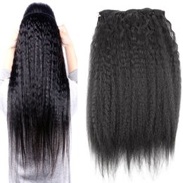 $enCountryForm.capitalKeyWord Australia - Brazilian Kinky Straight Clip in Human Hair Extensions Black Brazilian Remy Hair 10 Pieces Set Coarse Yaki clip in extensions 120g set