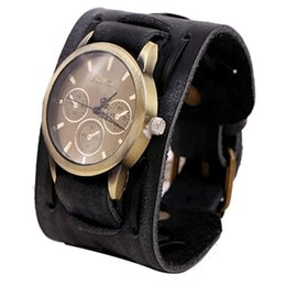 cool red watches UK - 2018 New fashion Style Retro Punk Rock Brown Big Wide Leather Bracelet Cuff Men Watch Cool