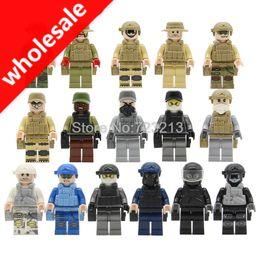 $enCountryForm.capitalKeyWord Australia - Wholesale 160pcs Military Teams Figure Set Navy Air Force Army SWAT Armor Model Building Blocks Brick Toys for Children