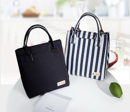 Discount lunch ice packs - Aluminum foil ice pack insulation bags waterproof lunch bags non-woven oxford stripe cold insulation bag tote storage bo