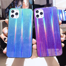bling note Australia - Bling Gradient Laser Aurora Tempered Glass Case For iPhone 11 Pro XS Max XR X 8 7 6 Samsung S10 Plus Note 9 10 10+ A10 A20 A30 A50 A70 A80