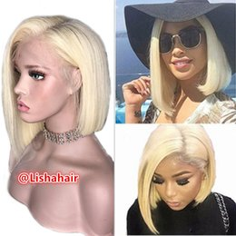 Cutting Straight Hair Australia - 613 Lace Front Human Hair Wigs Colorful Bob Cut Wigs Straight Transparent Short Wigs Blonde Remy Hair