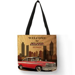 Discount coolest cell phones - Strong Personalized Cool Shoulder Bag For Women Men Retro Vehicle Garage Printed Tote Bag Premium Eco Linen Handbag Sac
