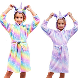 cotton towelling children bathrobe girl NZ - Kid Bathrobe Unicorn Flannel Ultra Soft Plush Comfy Hooded Nightgown Boy Girl Sleepwear Children Unisex Beach Towel Bath Robes SH190912
