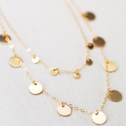 $enCountryForm.capitalKeyWord Australia - Fashion Double Layer Coin Necklace Bohemia Round Sequins Choker Necklace Pendant On Neck Chain Jewelry