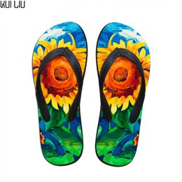 Floor paints online shopping - Customized Women Summer Slippers Fashion Floral Painting Printed Flip Flops for Woman Fenamel Beach Rubber Sandals Flat Shoes