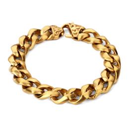 $enCountryForm.capitalKeyWord Australia - New Hip Hop Thick Stainless Steel Bracelet Gold Silver Color Cool Men Heavy Curb Link Chain Fashion Vintage Bracelet