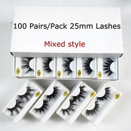 Wholesale Wholesale 25mm Lashes 20 30 50 100 Pairs 25 mm False Eyelashes Thick Strip Mink Lashes Makeup Dramatic Long Mink Eyelashes Bulk