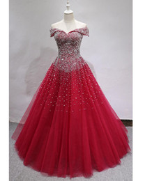 quinceanera dresses red bling Australia - Selling Quinceanera Dresses Bling Bling Crystal Beaded Bodice Corset Red Ball Gowns Off The Shoulder Charming Luxury Prom Dresses 2019