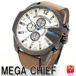 55mm Watches Australia - Hot sale DZ4280 DZ7314 DZ7313 Leather Belt 55mm White Dial Watch life Waterproof Sport Quartz Military WristWatch Men Clock montre homme