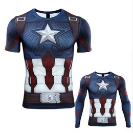 Wholesale captain t shirt online – design 3D Captain America T shirt Cosplay Avengers Endgame Captain America Costume Avengers Steve Rogers T shirts Sport Tight Tees
