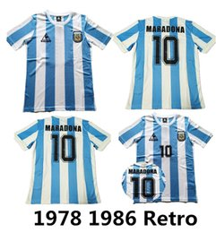 86 shirt online shopping - 1986 Argentina Retro Soccer Jersey Maradona Vintage Classic Retro Argentina Maradona Football Shirts Maillot Camisetas de Futbol