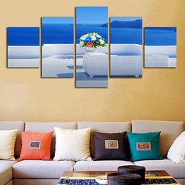 $enCountryForm.capitalKeyWord NZ - Modern 5 Panel Beautiful Seascape Flower HD Printed Canvas Painting Wall Framework Pictures Artwork Home Decoration Living Room