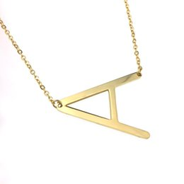 $enCountryForm.capitalKeyWord NZ - Sideways Large Initial Necklace Gold Big Letter Script Name Stainless Steel Pendant Monogram Necklace for Women Gift(from Alphabet 26 A-Z)