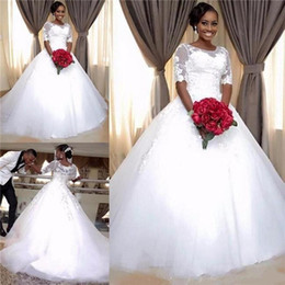 short ball gowns wedding dresses NZ - 2020 Short Sleeve White Tulle Ball Gown African Wedding Dresses Black Girl Plus Size Wedding Gowns Cheap Wedding Dress Bridal Gown
