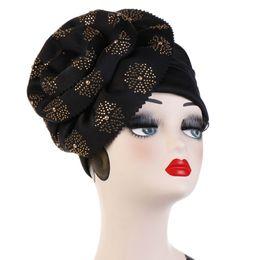 White Loss Australia - Women Cotton Drill Big Flower Turban Hat Cancer Chemo Beanies Cap Hijab Pleated Wrap Head Cover Hair Loss Accessories