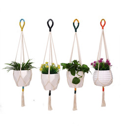 cotton plant flower NZ - Colorblock Plant Hanger Macrame Wall Hanging Plant Basket Cotton Rope Flower Pot Holder Indoor Outdoor Balcony Decoration Wall Art